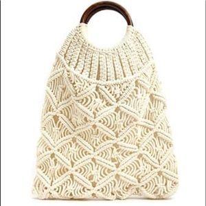 Handbags - Crochet Tote Bag/Handbag- Cream Color